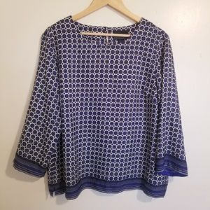 Cynthia Rowley Navy Dot and Stripe Print Blouse